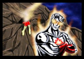 Captain Atom Vs New 52 Flash by adamantis