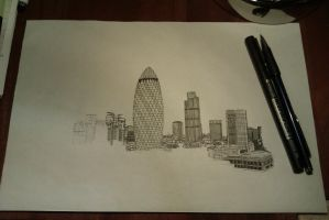 London Skyline In Progress by JoelKoske