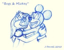 Bugs Bunny and Mickey Mouse by darkmane