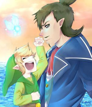 Link and Linebeck by 46Akuma