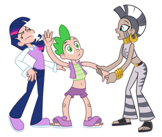Twilight Sparkle, Spike, Zecora - Slap! (Human) by Trinityinyang