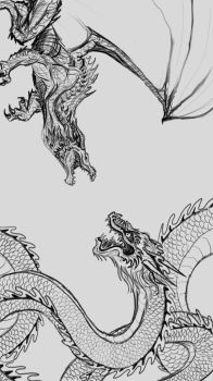 Dragons - Iphone 6s Wallpaper Commission - WIP pt2 by SaraMFDraws