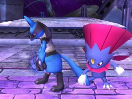 Lucario and Weavile by 21eeveevulpix