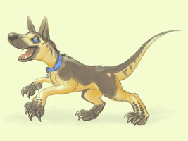 Riley, dino-dog extraordinaire by feathergills