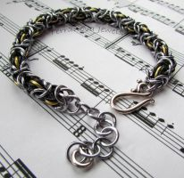 Dark silver, black and gold bracelet by TerraNovaJewels