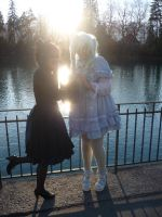 Sweet blue Lolita meets black sweet Lolita by Taamy-chan