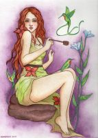 Girl and the Hummingbirds in Watercolor by IsabelaRazo
