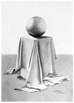 Study drawing | textile and sphere by Vertigo-one