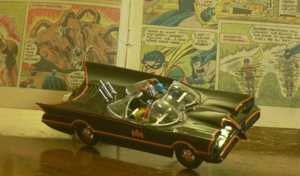 Classic Batmobile Jumping Out of the Pages by NihonFreakMB