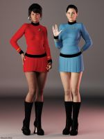 DAZ Cosplay: Uhura and Spock by Edheldil3D