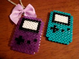 Perler - Game Boy Necklaces by rawk-kandy