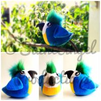 Blue Stuffed Macaw Parrot Bird Plushie by Saint-Angel