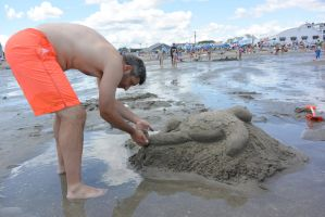 Turtle Sand Sculpture, the Fixing by Miss-Tbones