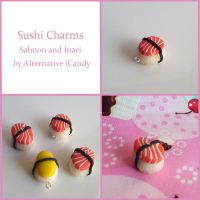 Salmon and Inari Sushi Charms by alternativeicandy