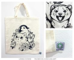 Cat, penguin and ferret - fabric bags! by Linzu