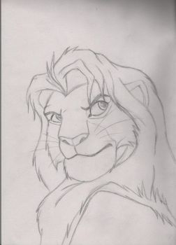Young adult Simba 1 scetch by WhiteWinterDragon