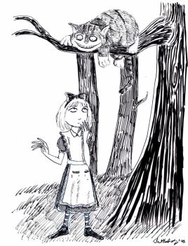 Alice and the Cheshire Cat by herbertzohl