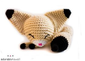 sleepy fennec fox amigurumi by adorablykawaii