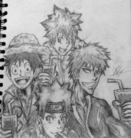 shonen jump protagenist party by needformang