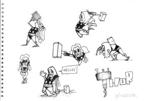 THOR character sketches by ferwar