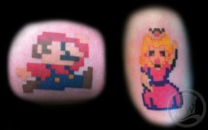 Mario and Princess tattoos by JakeW