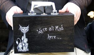 Cheshire cat suitcase by zeloco