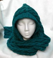 Cable knit womens hood hat scarf peacock feather by YANKA-arts-n-crafts