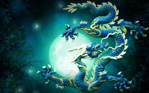 Bluegreen Chinese Dragon by kabegami
