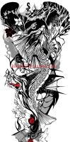 koi dragons tattoo-commission by kika1983