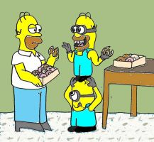 Homer Simspon and the minions by dabbycats