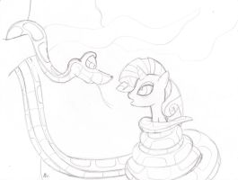 Kaa Meets Rarity sketch by lol20