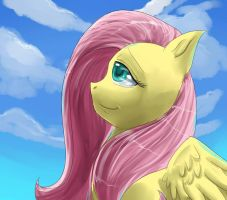 Fluttershy painting by Bread-Crumbz