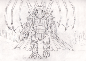 Lineart - Avatar of Battle by Spacer176