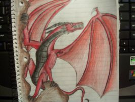 dragon cliffhang shaded by BiTTENwolf
