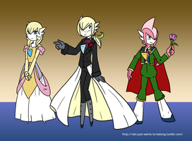 Rain and friends Prom Outfits by The-Clockwork-Crow