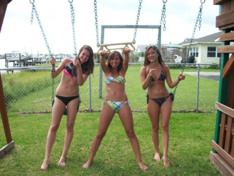 Three Girls And Three Tummies At The Swingset by tummytickleztickler
