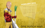 Calendar Wallpaper - February 2016 - One Punch Man by edinaholmes