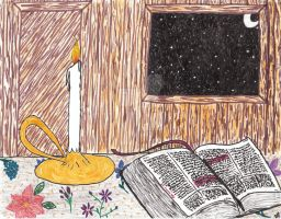 Reading by Candlelight by Dani-the-Naiad