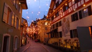 Swiss town in December by Cadaska