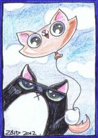 Funny cat is a balloon ACEO by KingZoidLord