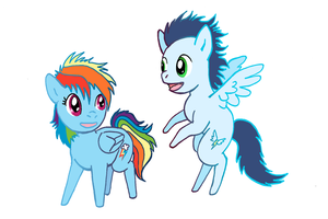 Little Rainbow Dash and Soarin (Vector Version) by lotothetrickster
