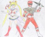 Sailor Moon and Red Ranger by FoxBluereaver