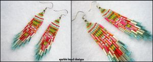 Red Multi-Color Earrings by Natalie526