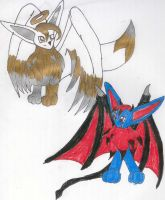 Angel and Devil Eevee colored by SilverStar2