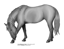 Bowing Horse Grayscale by PhenixFyre