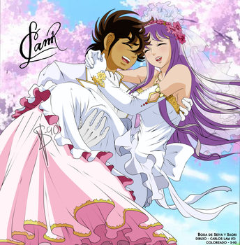 Saint Seiya ::Seiya and Saori's Wedding:: COLORED by Sunney90