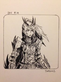 Inktober day #19: Dreadking Rathalos armour by TimTam13