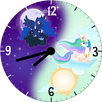 Luna and Celestia Wall Clock Face by trebory6