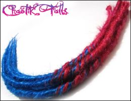 Pink And Blue Transitional Synthetic Dreads by ChaotikFalls