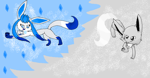 Gift: shiny eevee VS shiny glaceon by LunaticDemonLuny